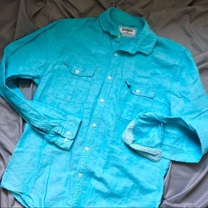 Express Linen Button Down Shirt M Teal